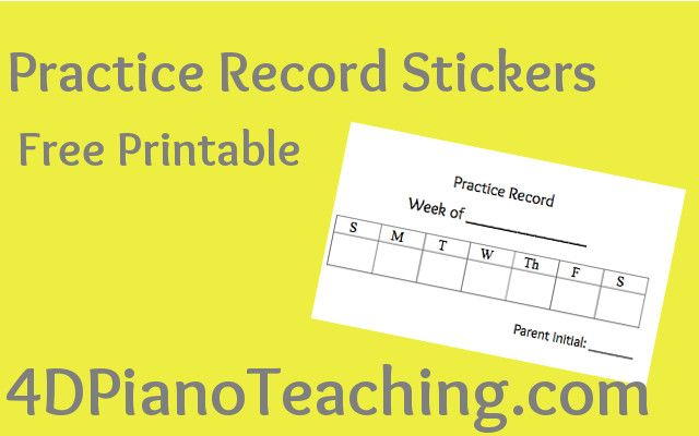 Practice Record Stickers - Free Printable Free printable - printable assignment sheet