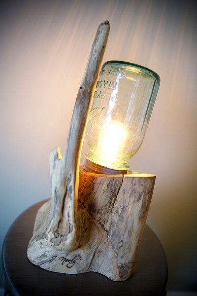 Driftwood + Mason Jar = + Lamp