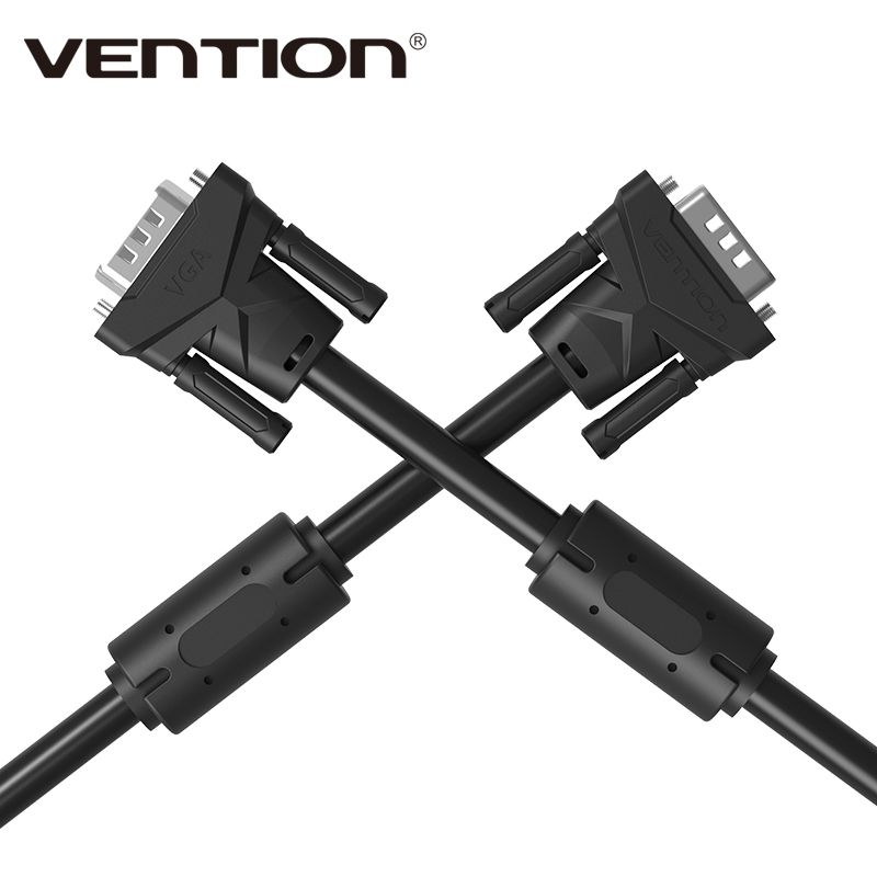 Vention Projector Extension Vga To Vga Cable With Double Magnets Ring High Premium Vga Black Cabo Male To Male 1m 2m 3m 5m Male To Male Vga Hdtv