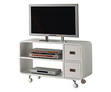 Mueble de tv con ruedas en madera plano blanco for Muebles para tv con ruedas