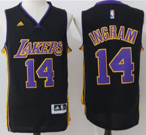 a6f5b8908 Lakers  14  Brandon  Ingram Black(Purple NO.)  StitchedNBAJersey ...