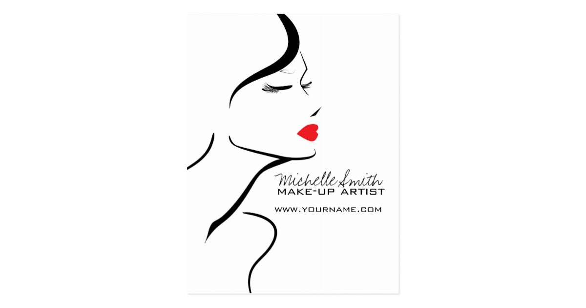 Makeup Icon Woman Face In Black White Red Lips Postcard Zazzle