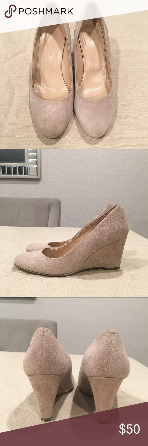 """J.Crew Martina Suede Wedges J.Crew Martina Suede Wedges in Pale Thistle. Streamlined, sculptural, stylish and comfortable. Styled in supple Italian suede. 3"""" heel with cushioned insole. Made in Italy. Suede in excellent condition. J. Crew Shoes Wedges"""