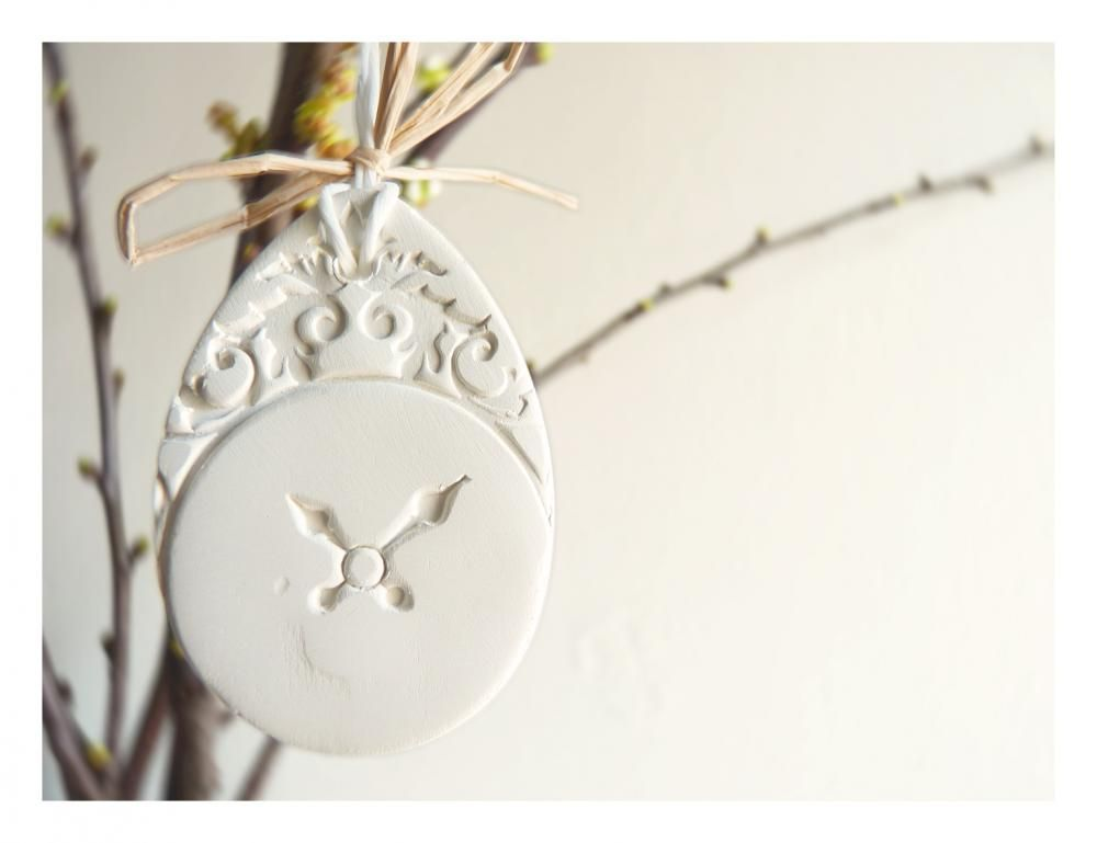 English Easter ornaments - white ceramic, handpainted.
