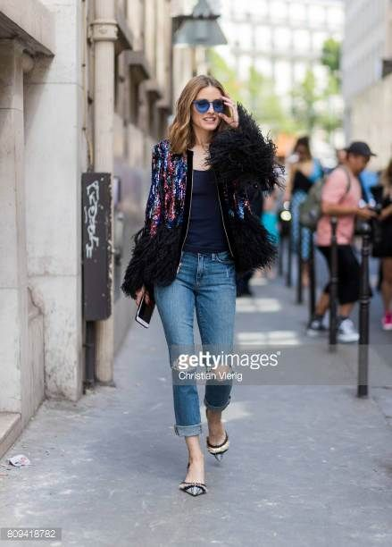 Olivia Palermo wearing ripped denim jeans glitter jacket blue sunglasses navy tshirt heels outside Elie Saab during Paris Fashion Week Haute Couture...