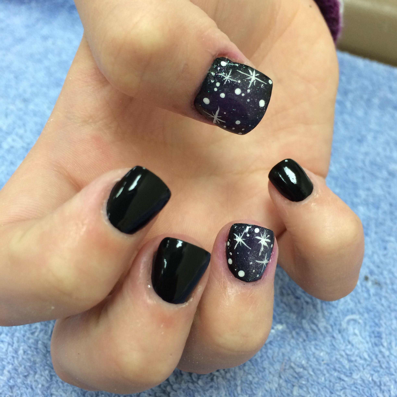 acrylic nails with galaxy nail art #galaxynails #starnails #nailart ...