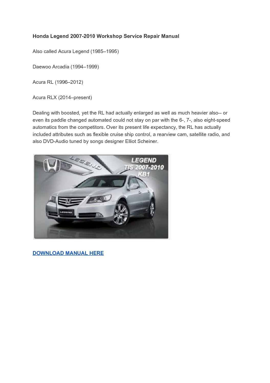 Auto mechanic, Honda Legend Insight 2007-2010 Workshop Service Repair Manual,The  Honda