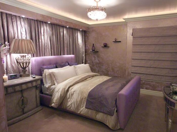 Schlafzimmer Gemütlich Gestalten, Beige, Lila, Violett, Vorhänge, Gelb,  Beleuchtung,