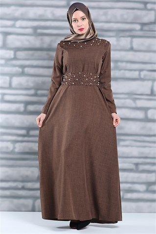 Boncuk İşleme Detaylı Elbise (Kahve)
