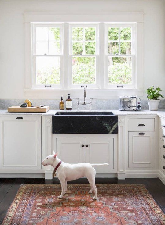 Rugs in the Kitchen: Yea or Nay? | Black kitchens, Kitchen ...