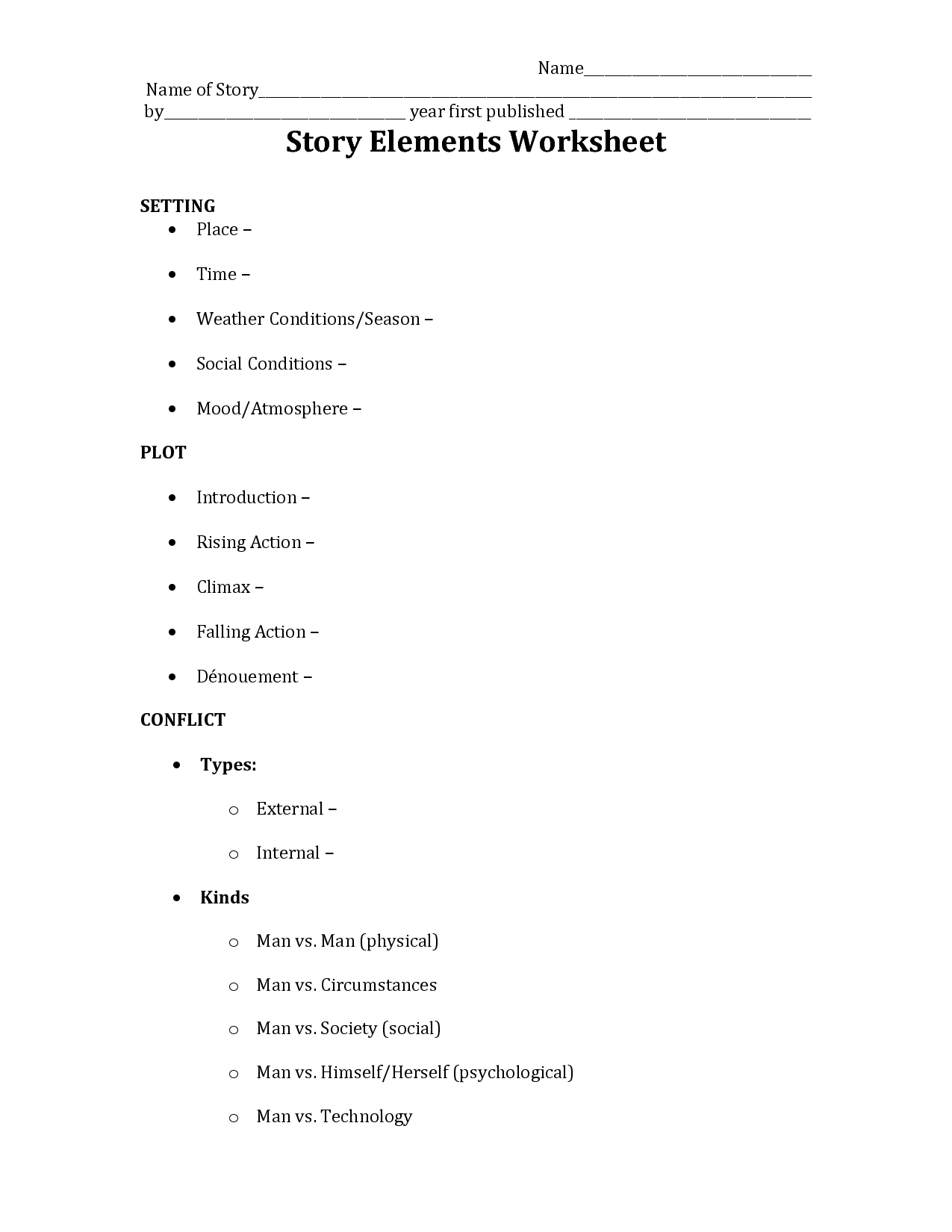 worksheet Elements Of A Story Worksheet 78 best images about characters setting plot on pinterest graphic organizers lesson plans and common cores