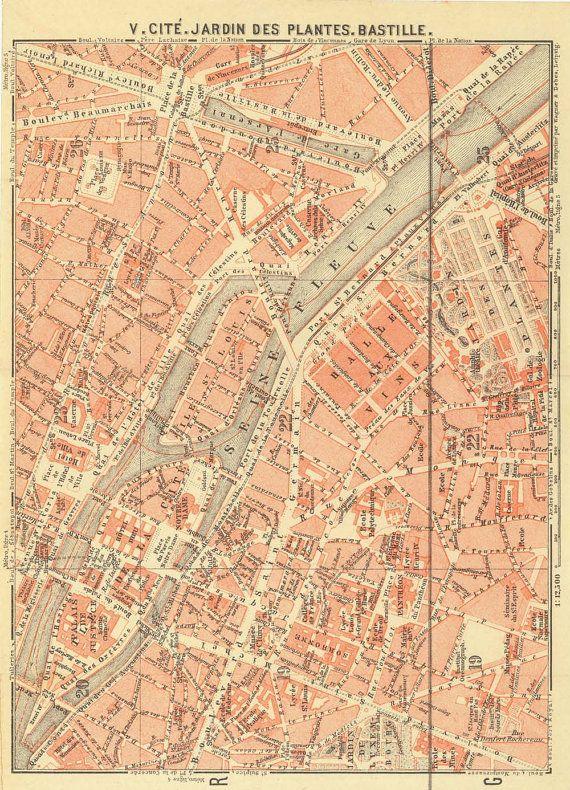 Paris City Plans Set Of Vintage Street Maps Pinterest - Map of paris bastille