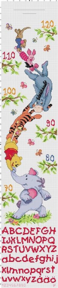 Winnie The Pooh Friends Height Chart Disney Cross Stitch Cross Stitch Patterns Cross Stitch For Kids