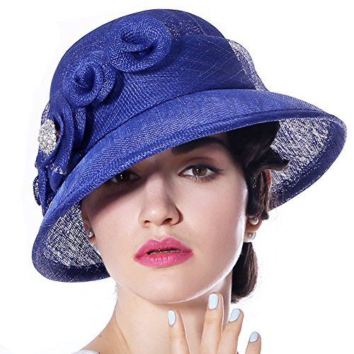 c258136c7fd870 June's Young Women Hats Church Hat Sinamay Formal Hat Wedding Party(Royal  Blue),