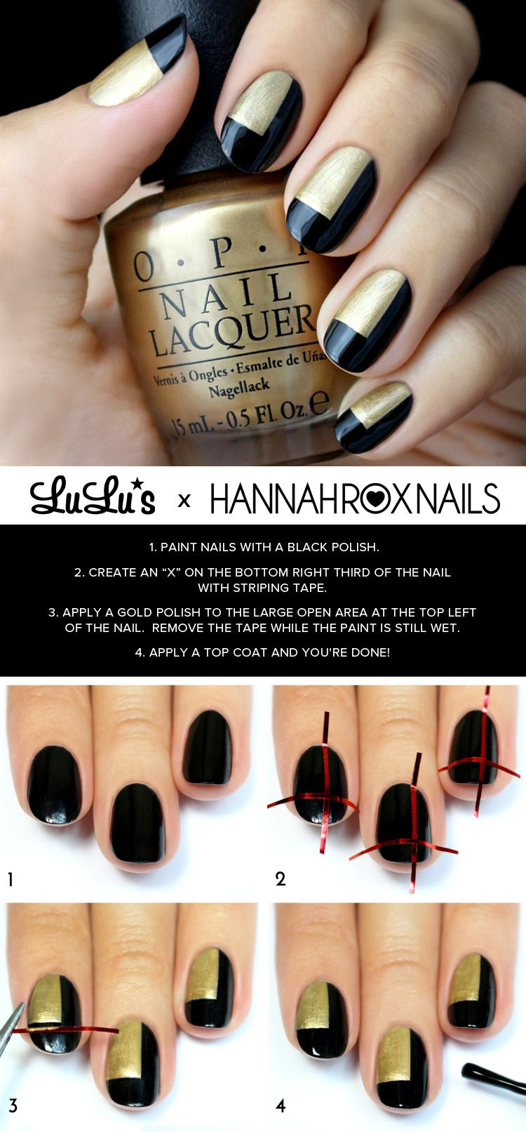 Mani monday black and gold color block nail tutorial style and do