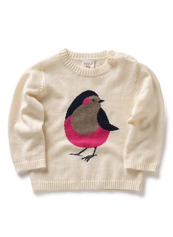 Seed Heritage - Bird Intarsia sweater - http://www.seedheritage.com ...
