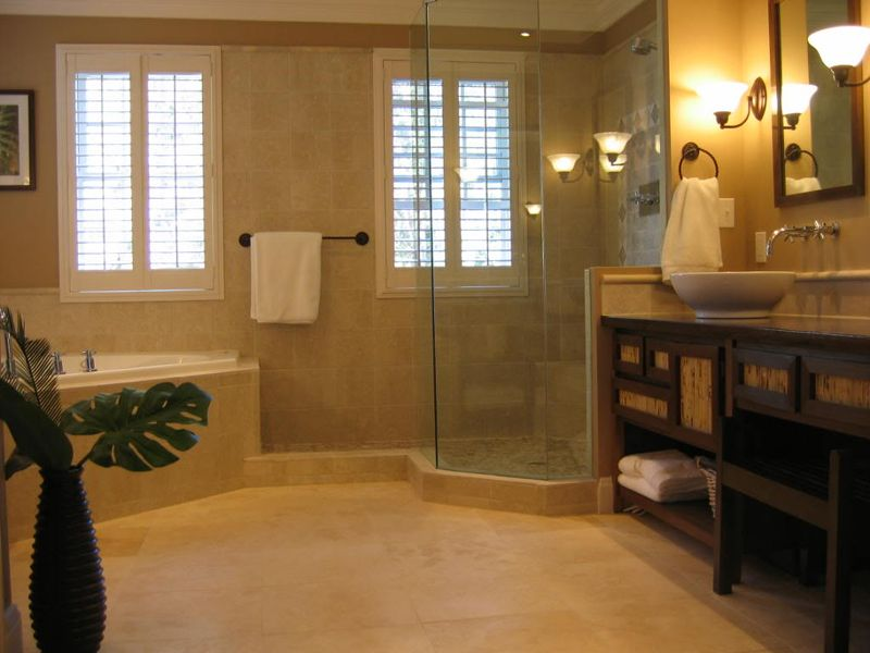 Bathroom Design Inspiration Warm Color Schemes With Tile For Flooring And Wall Also Contemporary Wooden Vanities Ideas Best