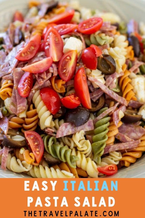 easy italian pesto pasta salad is easy to make and great for lunch or dinner!