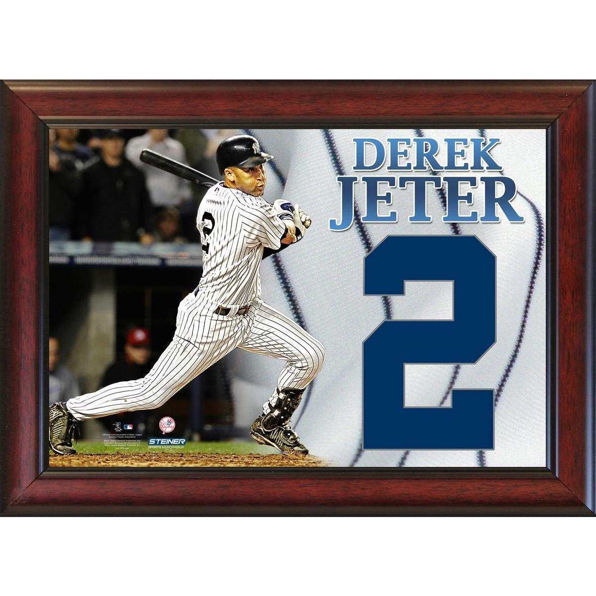 Derek Jeter 2 Jeter Number Framed 11x14 Collage (Actual Cloth Number)