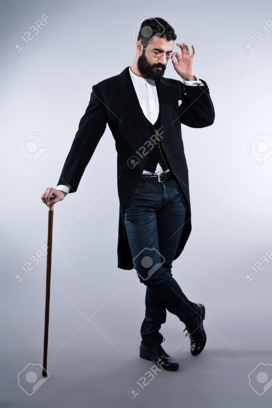 173b9177b1f standing with cane - Google Search. Retro hipster 1900 fashion man ...