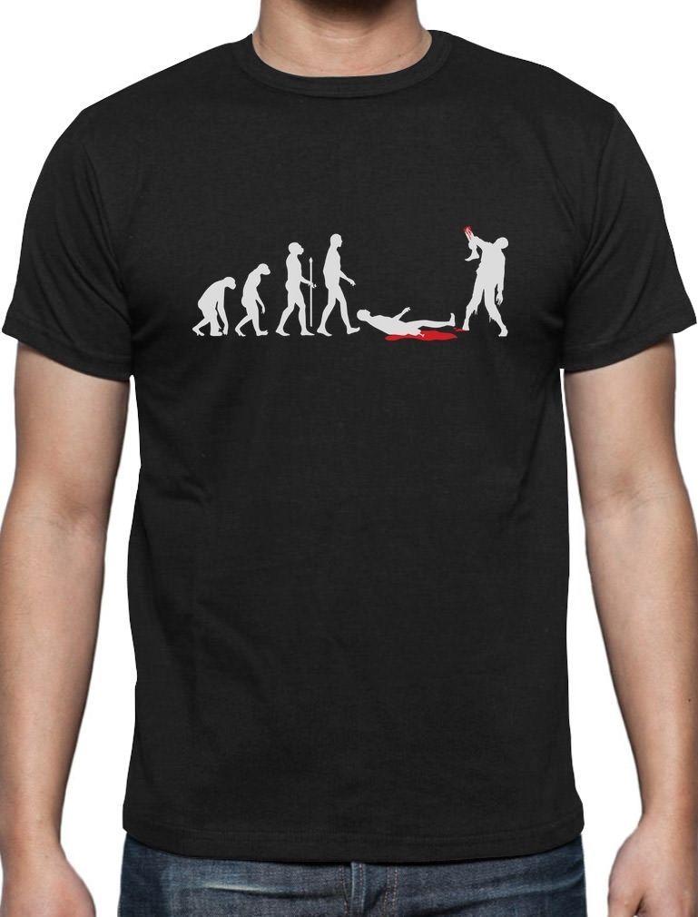 Click to Buy \u003c\u003c Print Men T Shirt Summer Zombie Evolution Funny - halloween t shirt ideas