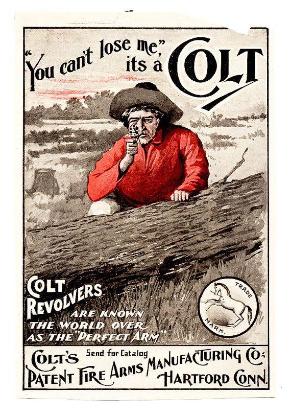 Antique Firearms Advertising. 1900s COLT REVOLVERS Original Magazine Print. Vintage Western Wall Art. Vintage Western Print Gun Advertisin ...