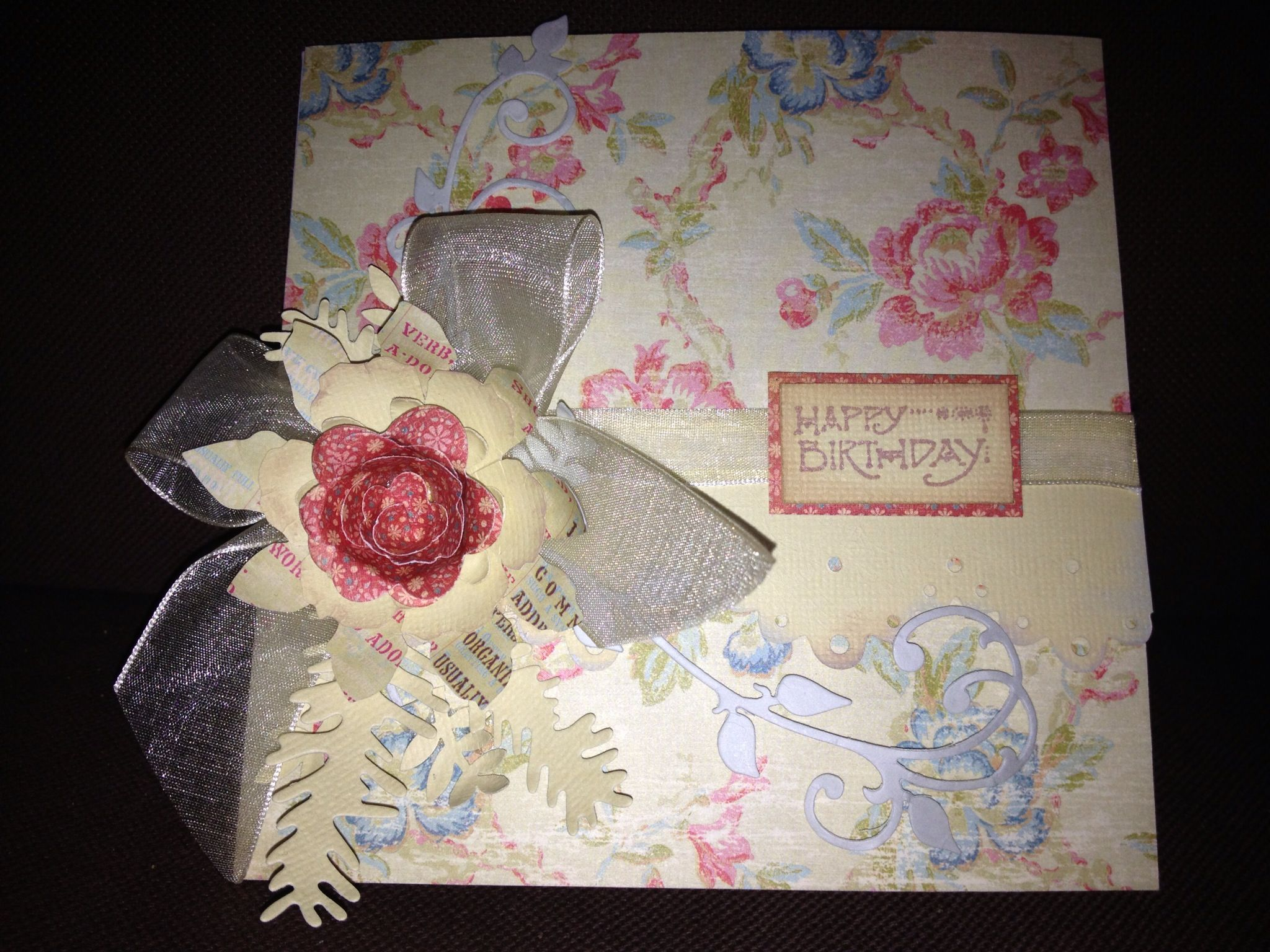 Tim Holtz tattered florals die, Marianne designs rose and xcut border dies. Card by Sherie.