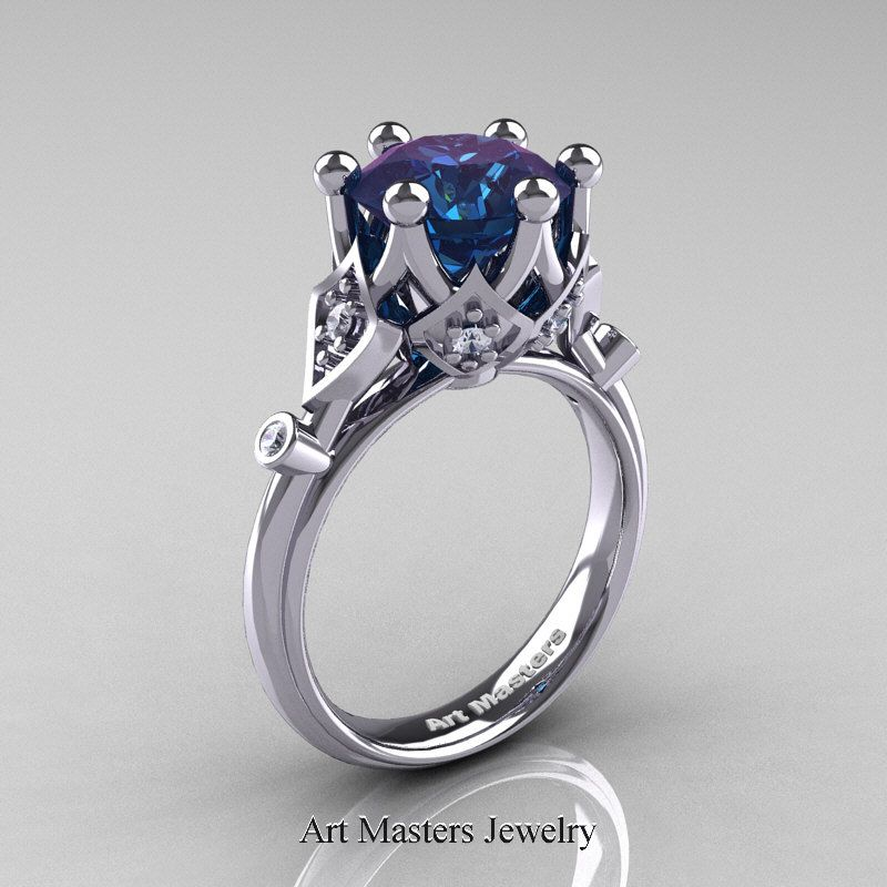 modern antique white gold carat black and white diamond solitaire wedding ring perspective - Alexandrite Wedding Ring