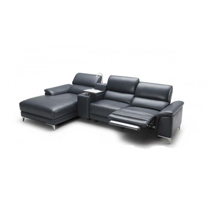 Juniper Modern Full Leather Sectional Sofa W Recliner Sectional