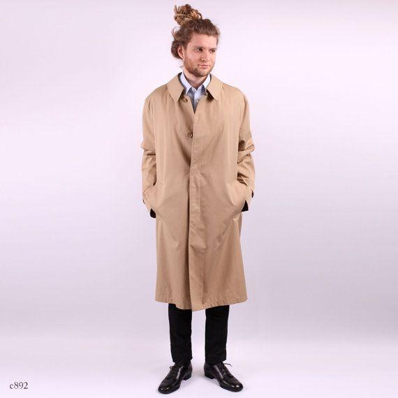 Mens TRENCH Coat . Vintage 1980s Beige Topcoat by BetaMenswear