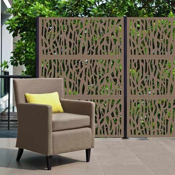 Metal Privacy Screen Laser Cut Decorative Steel Privacy Panel Metal Fencing Hanging Room Divider Partitions Panel Screen 48x24in 001