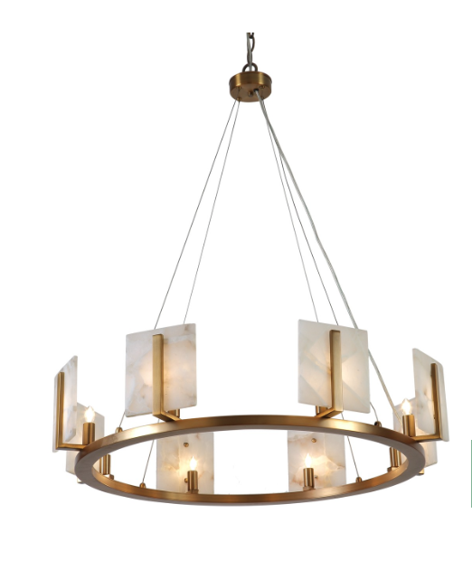 Halo Chandelier Large Alabaster Brass