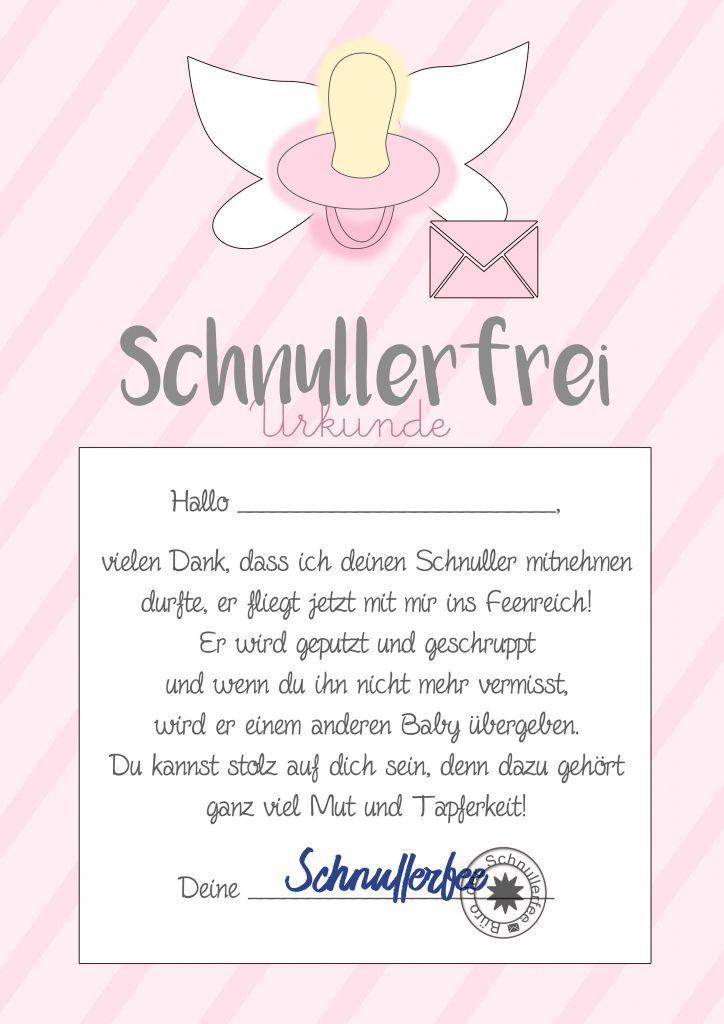 Schnullerfee Brief Vorlage Zum Ausdrucken Kids Pinterest Baby