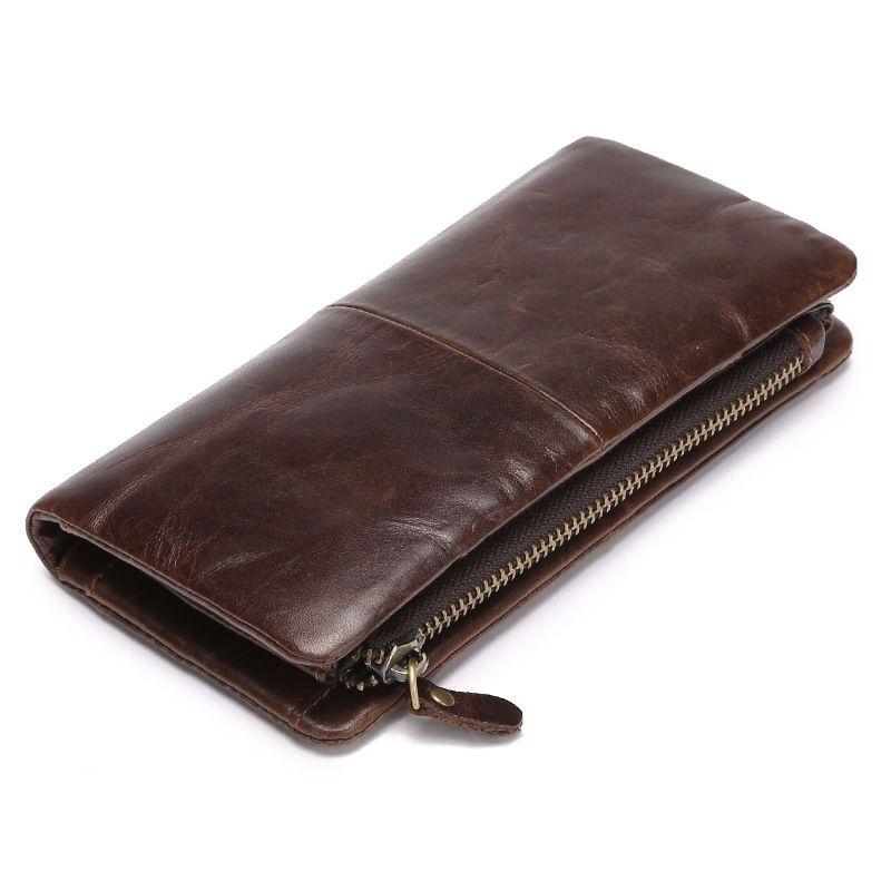 Men/'s Vintage Genuine Leather Long Trifold Wallet Money Card Holder Clutch Purse