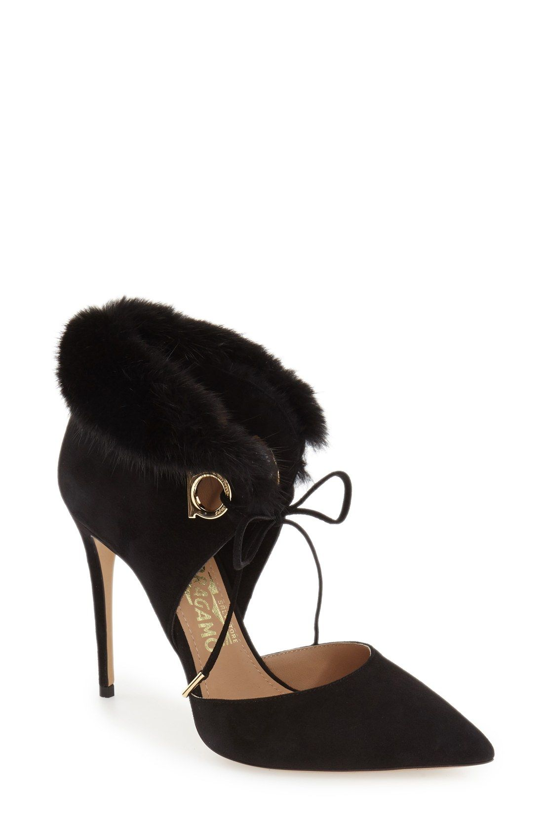 b1c92eb8f5559 Salvatore Ferragamo  Francesca  Genuine Mink Fur Trim Pump (Women ...