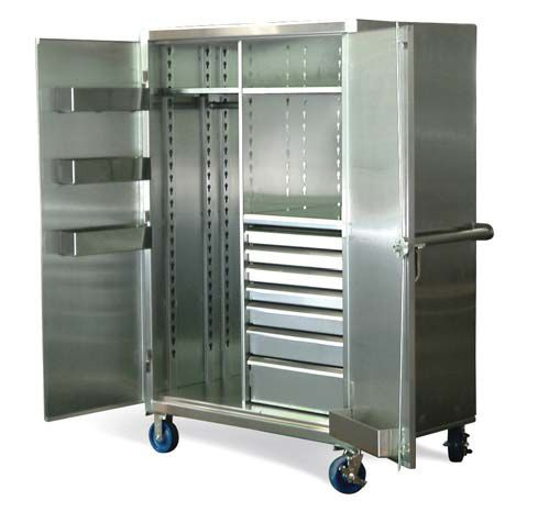 Stainless Steel Mobile Wardrobe Cabinet with Drawers - Stainless ...