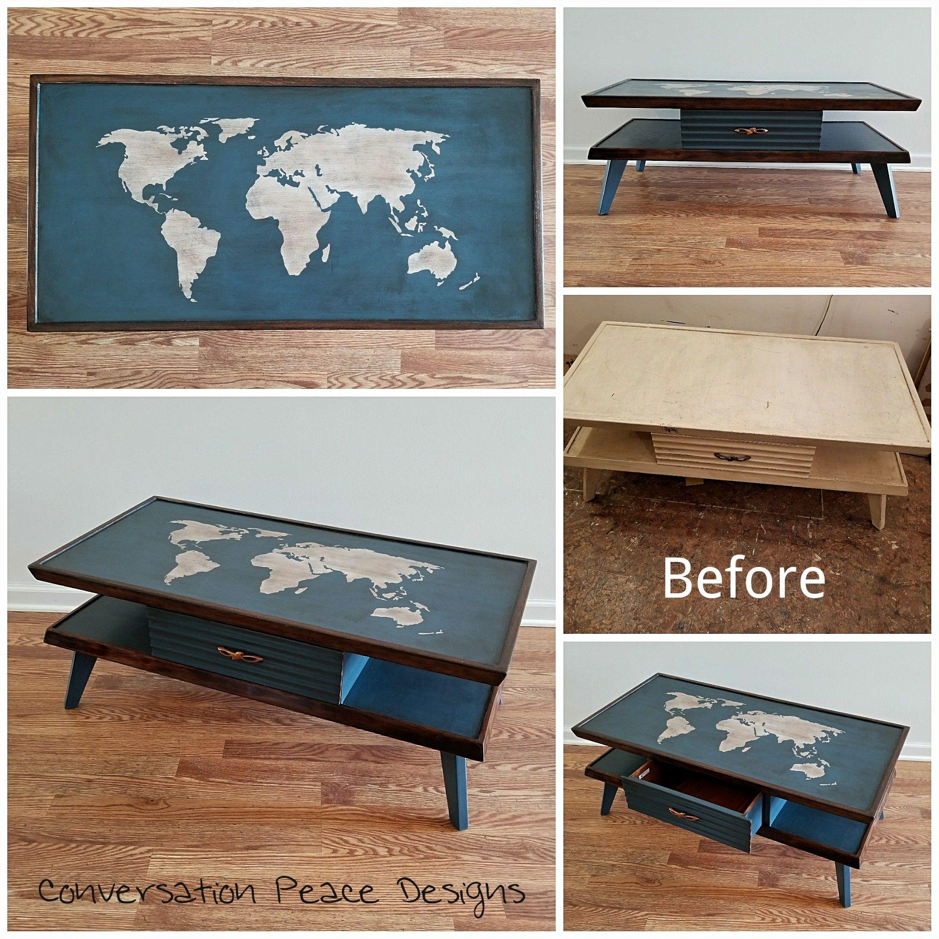 Mcm Coffee Table Refinish #Midcentury #Mcmfurniture #Refinishedfurniture #Worldmap