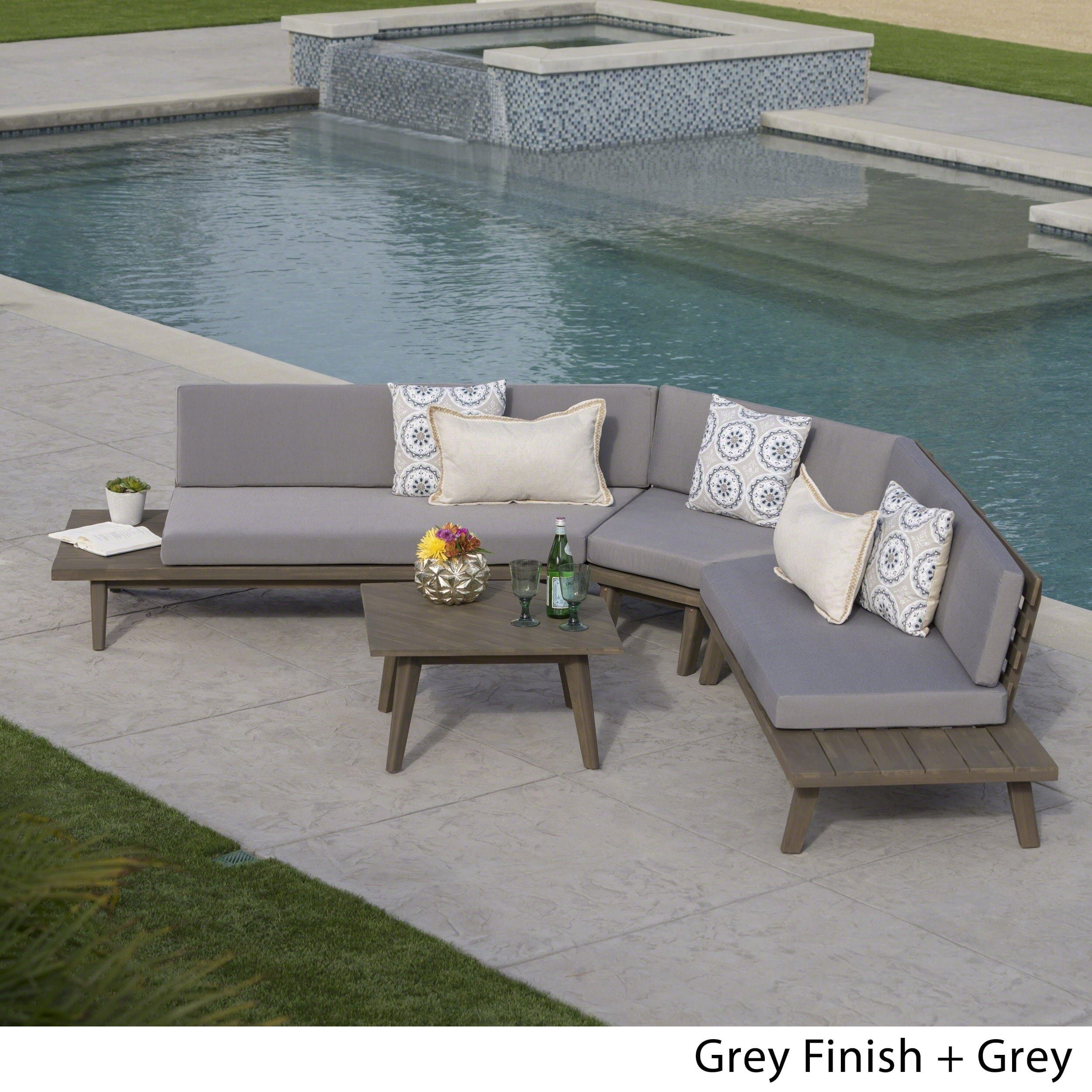 Hillcrest Outdoor 4 Piece V Shaped Wood Sectional Sofa Set With Cushion By Christopher Knight Home Grey Finish Size 5 Sets Patio Furniture