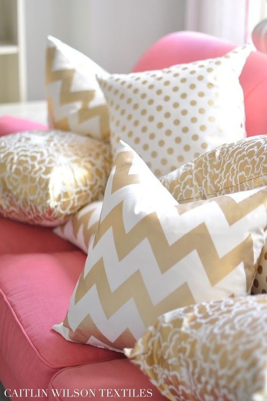 Gold Pillows Pink Couch Want Living Room Home Goods