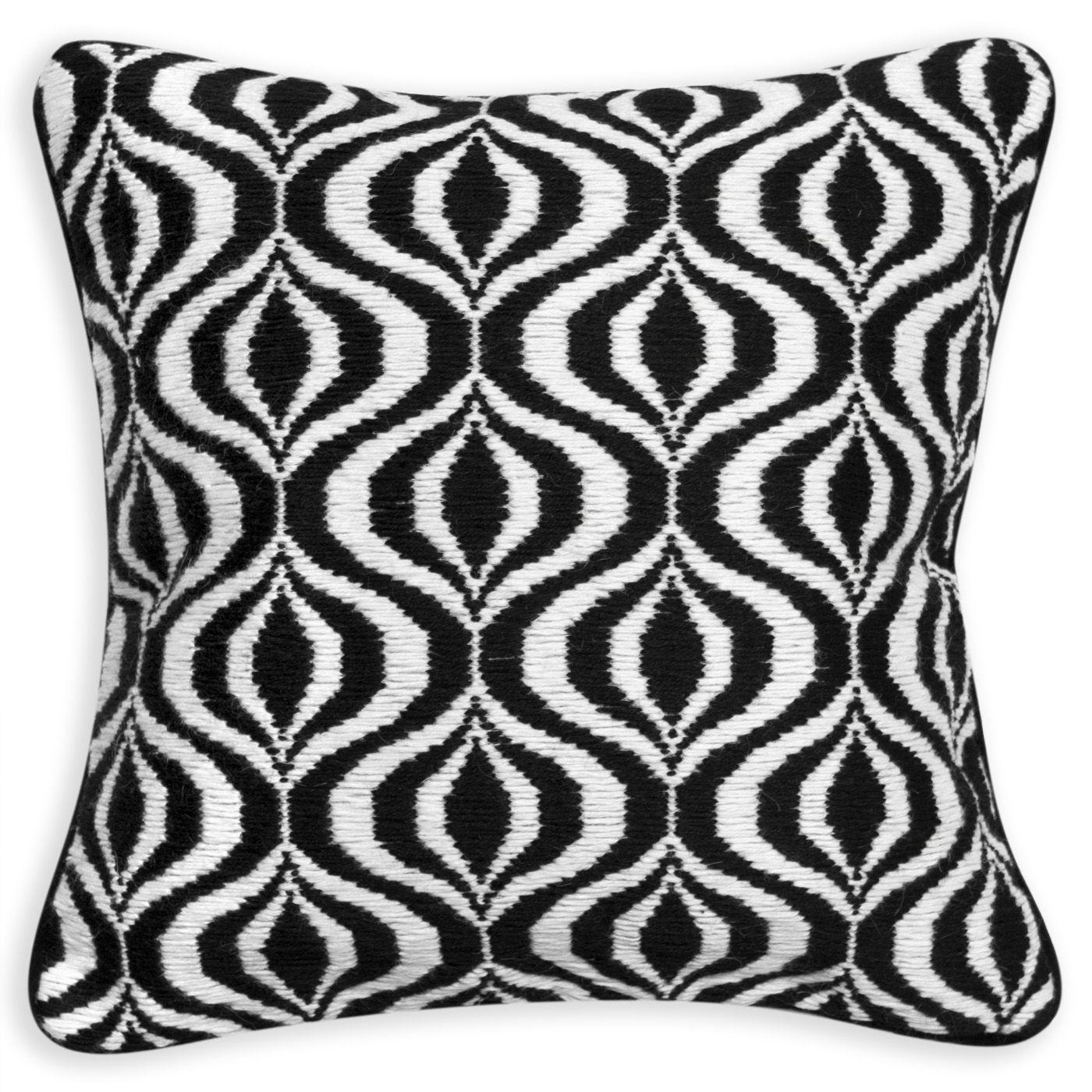 Modern Throw Pillows Black And White Waves Bargello