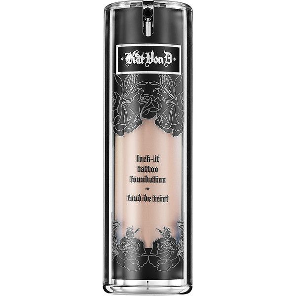 Kat Von D Lock-It Foundation (£24) ❤ liked on Polyvore featuring beauty products, makeup, face makeup, foundation, beauty, makeup - face, kat von d, kat von d foundation, moisturizing foundation and spray foundation
