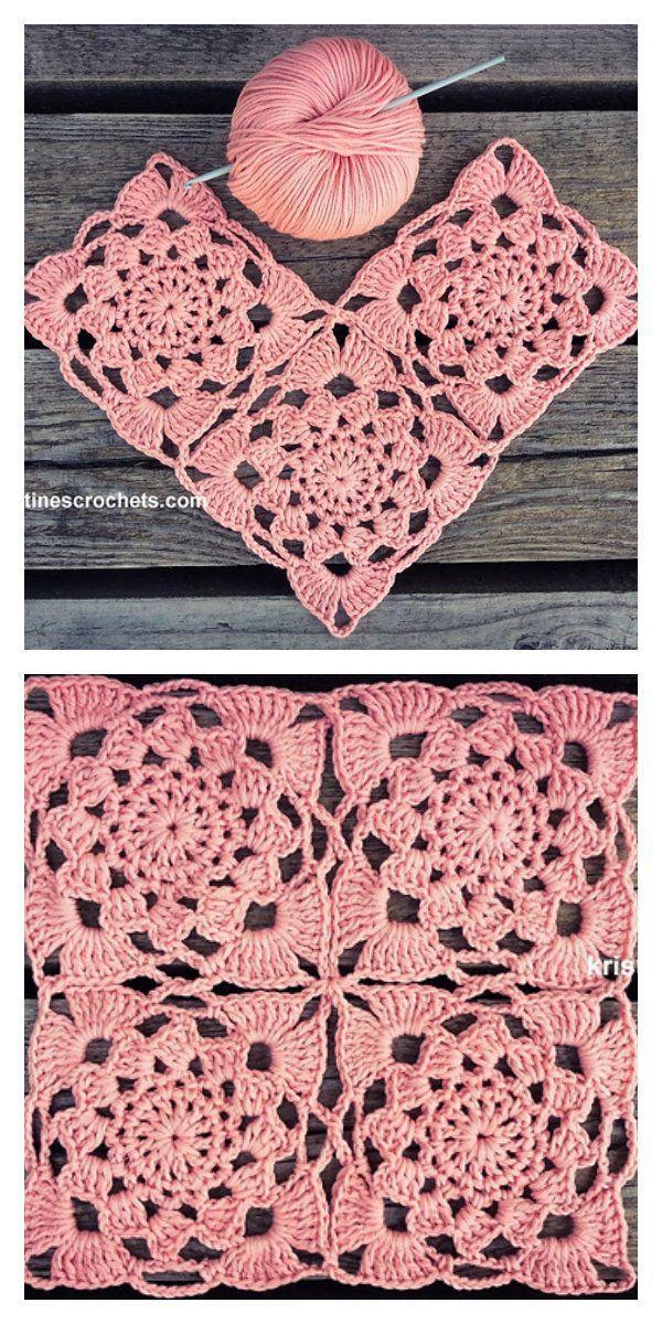 Crochet de motif carré de fleur de coucher de soleil De beaux carrés romantiques pour créer de nou …   – Häkelanleitung