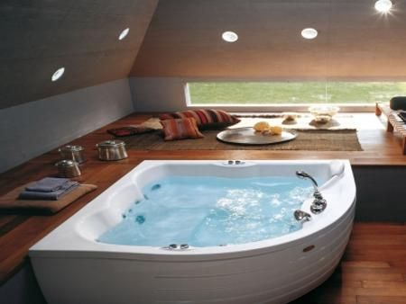 Jacuzzi Bathroom Designs Modern Bathroom Decorating With Beautiful Bathtub And Space Saving