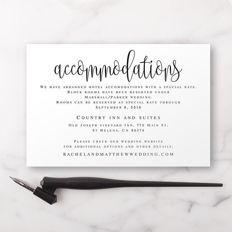 Accommodation Card Editable Templates Accommodation Insert Etsy Wedding Templates Printable Wedding Invitation Enclosure Cards Wedding Invitation Enclosures