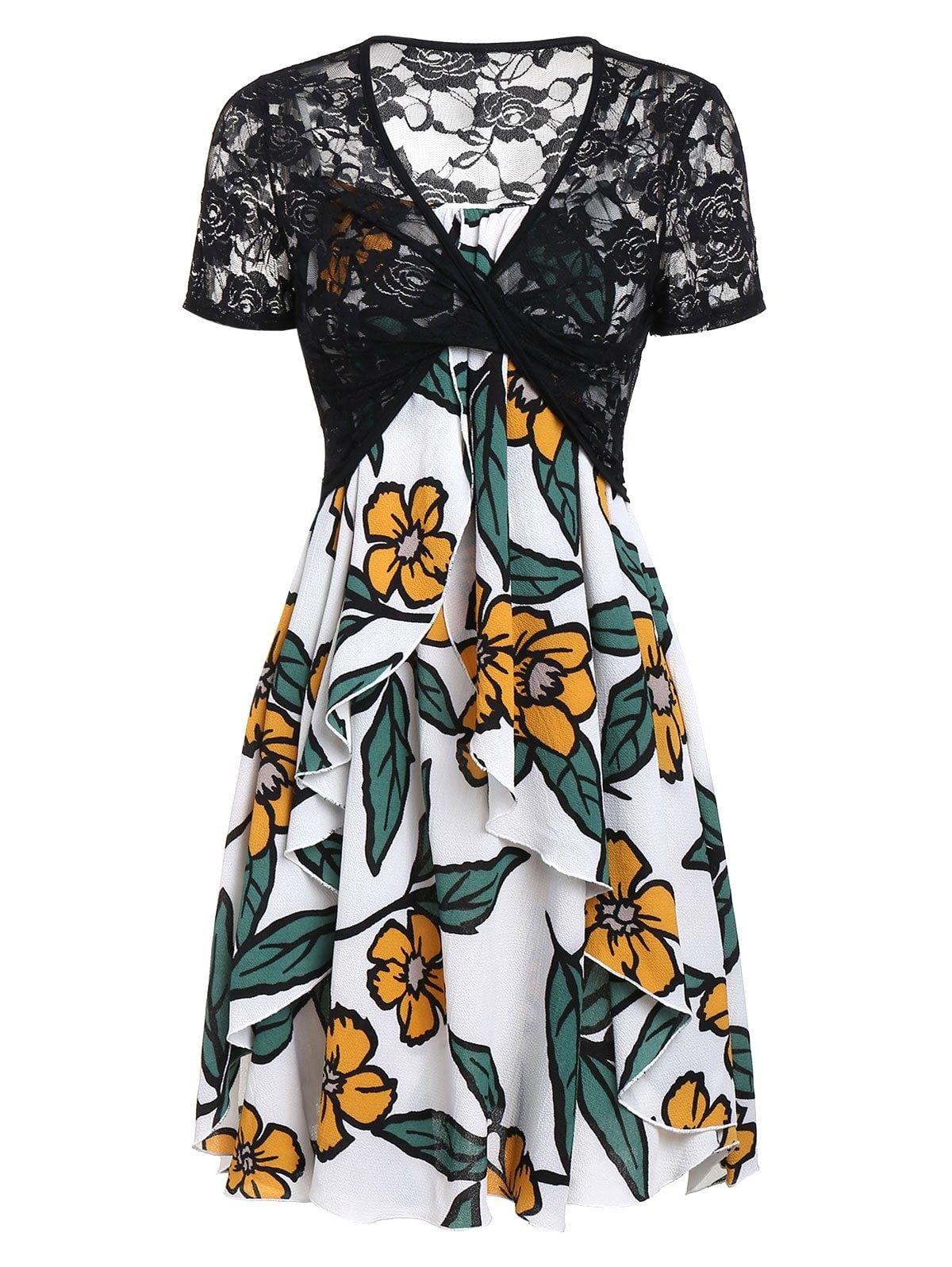 Dresslily Com Photo Gallery Flower Cami Draped Dress And Lace T Shirt Set Casual Dresses For Women Casual Dresses Cami Dress