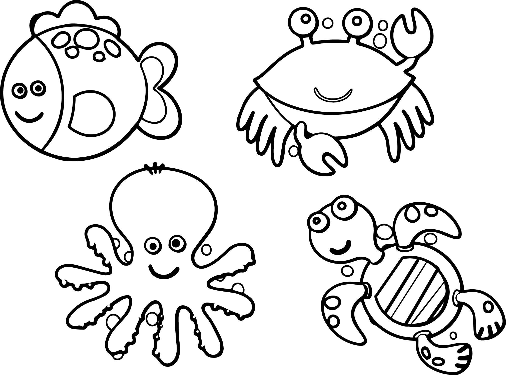 Sea Animals Coloring Pages Free Draw To Color And Ocean Coloring Pages Animal Coloring Books Animal Coloring Pages