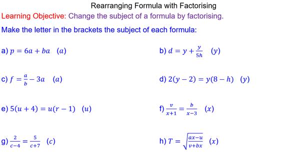 Rearranging Formulae by Factorising | Lessons on Algebra ...