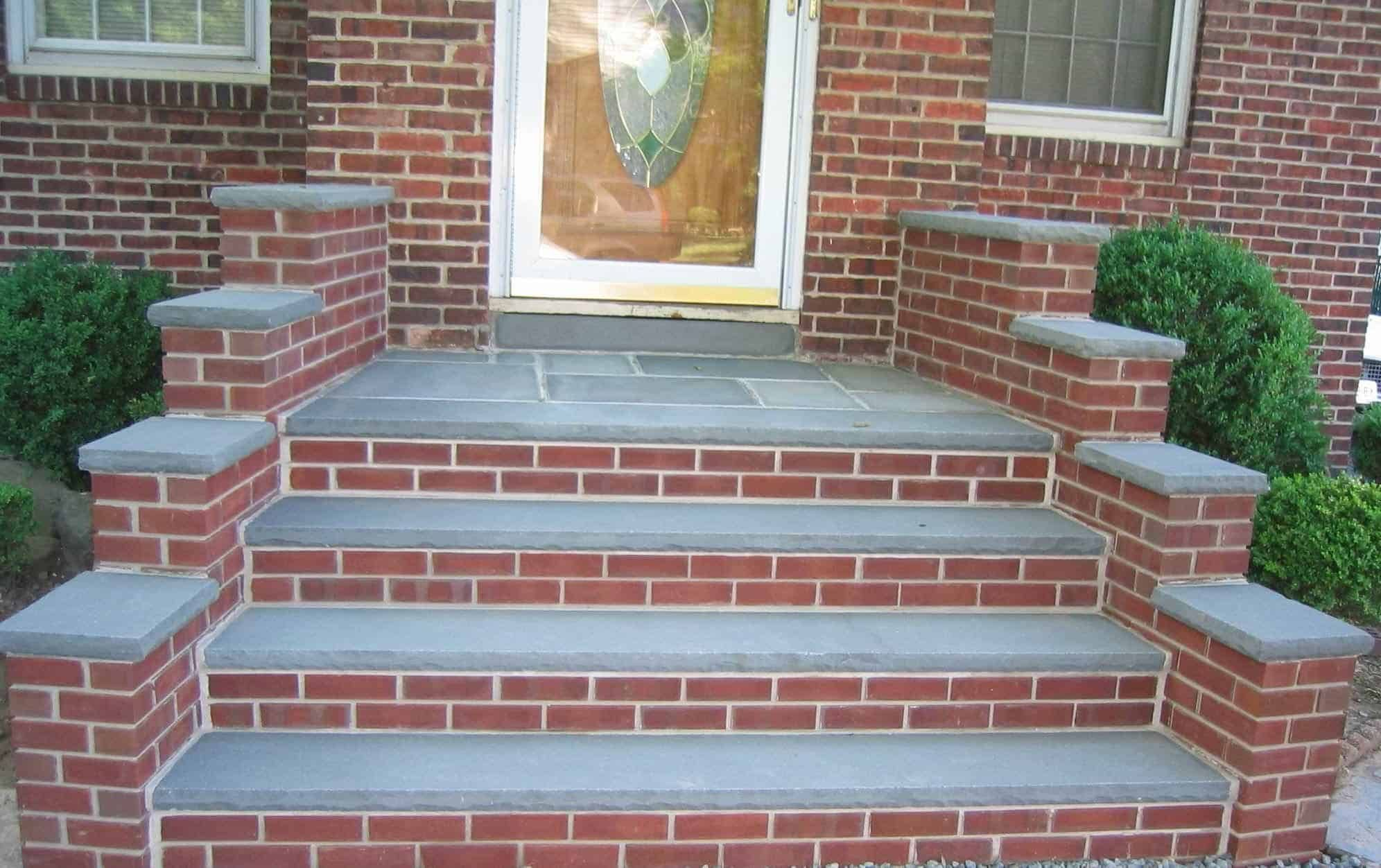 Good Brick Steps Design Front Porch Steps Brick Steps Porch Steps | Brick Front Step Designs | Patio | Entry | Front Entrance Front Porch Wall Tile | Raised Front | Bluestone Treads 24 Inch Rise