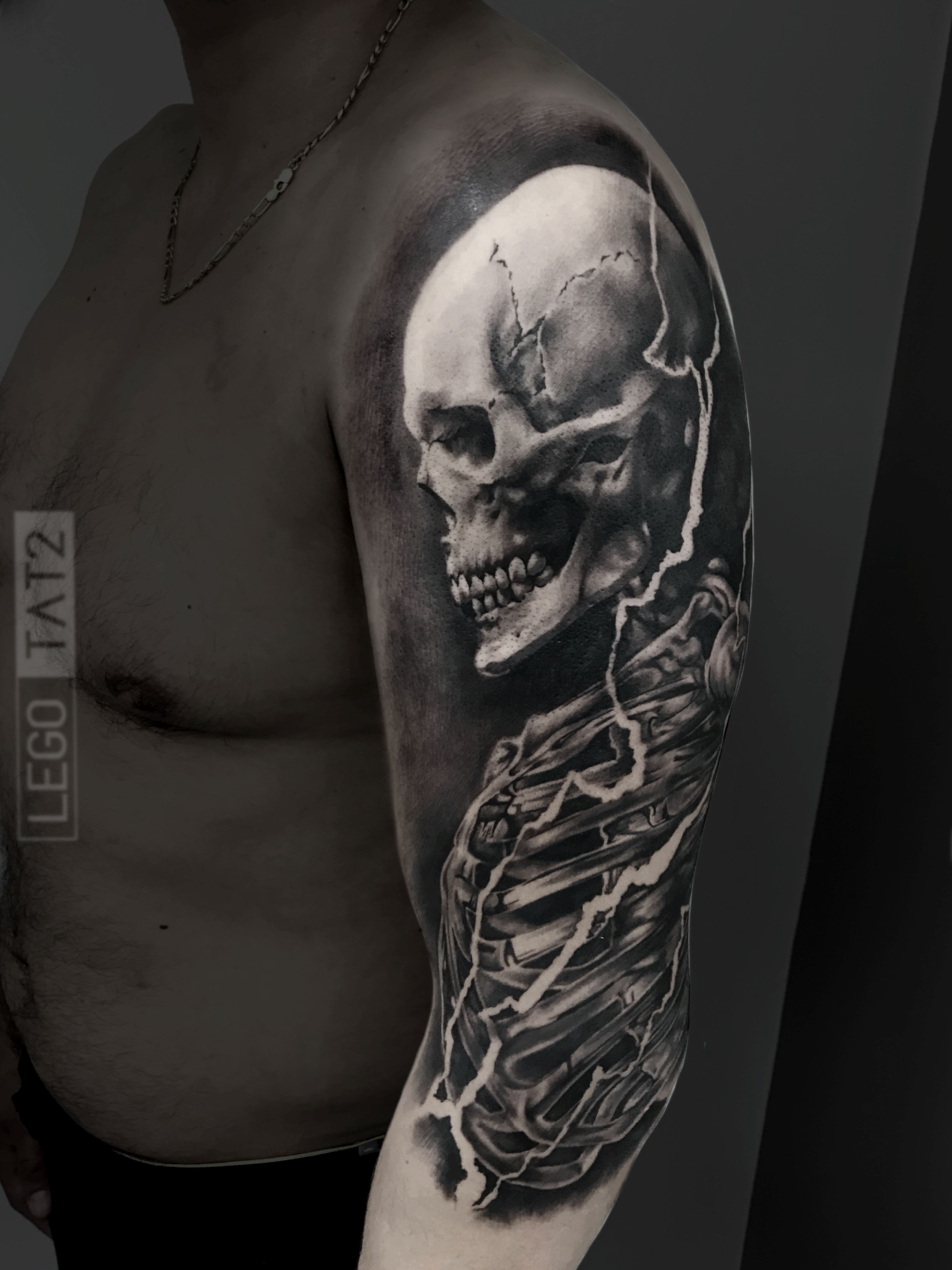 Realistic Skeleton Tattoo Black And Grey Skull Tattoo Made By