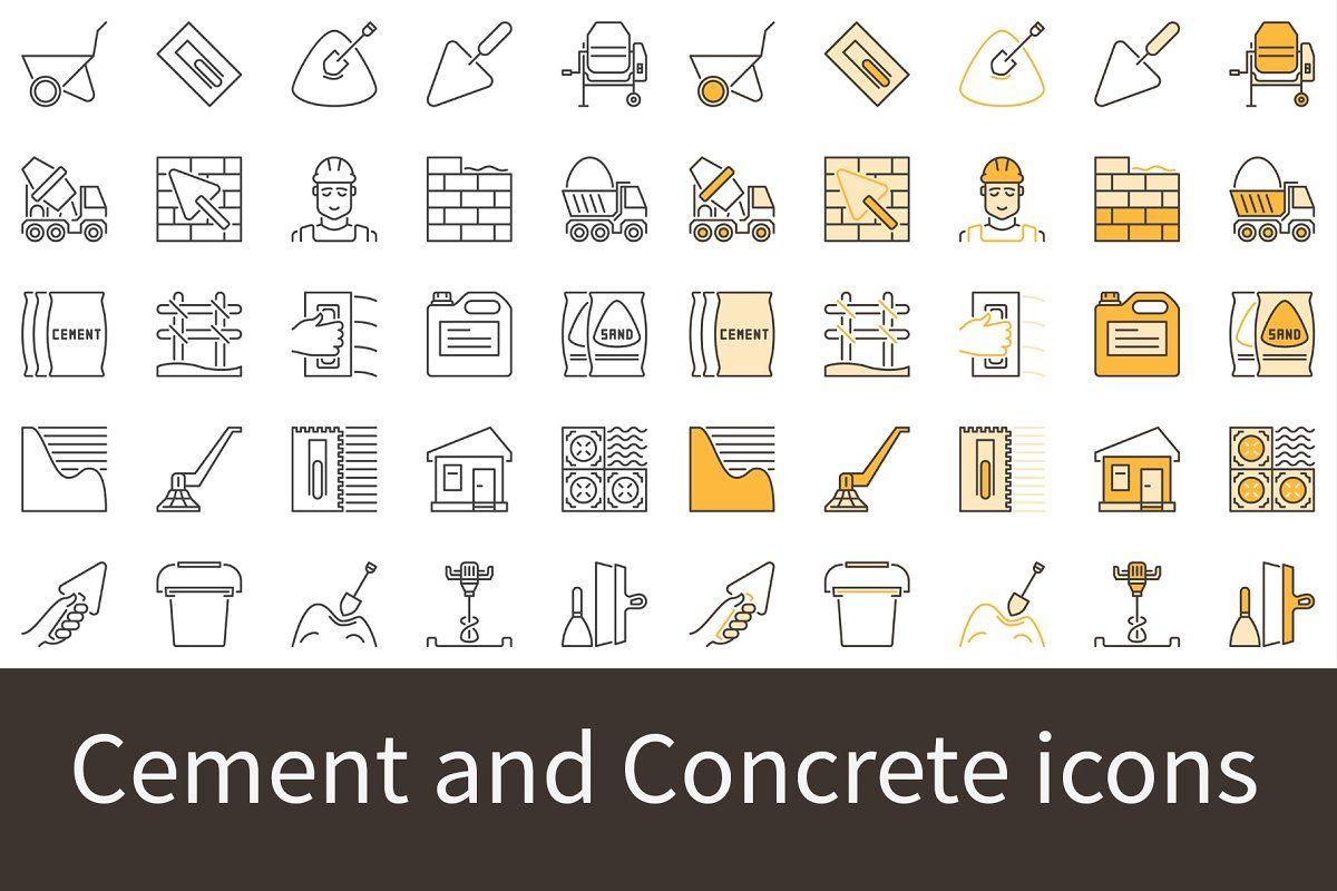 Cement And Concrete Icons Set Icon Icon Set Icon Design